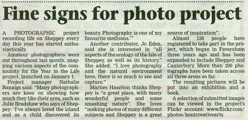 East Kent Gazette   2nd February 2011    A Year in the Life of Sheppey